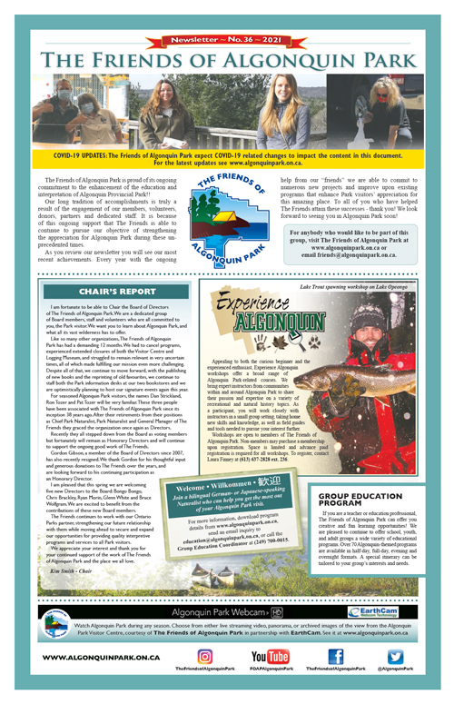 The Friends of Algonquin Park's Newsletter