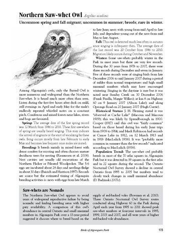 Birds of Algonquin Park sample page