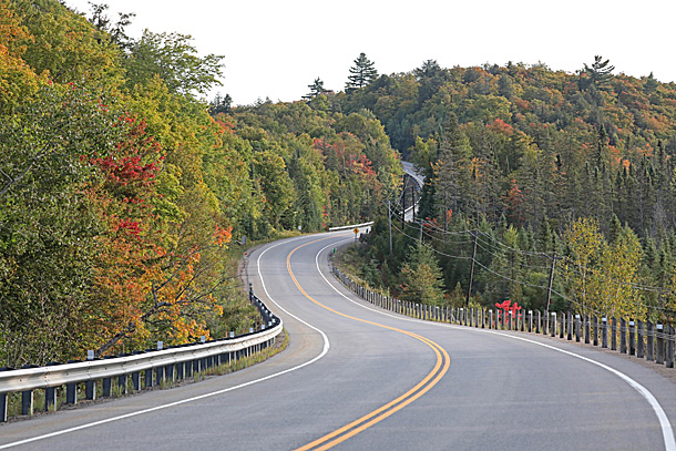 Highway 60 approaching the West Gate in Algonquin Park on September 14, 2020