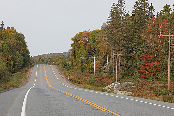 Looking west along Highway 60 at km 5 in Algonquin Park on September 16, 2020