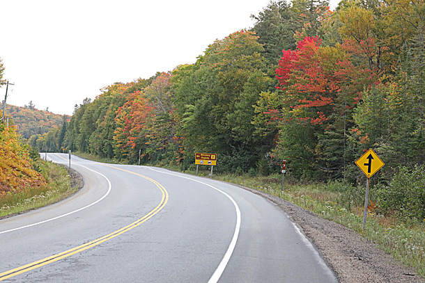 Highway 60 at Whiskey Rapids Trail in Algonquin Park on September 16, 2020
