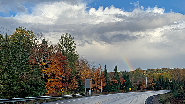 Rainbow near West Smith Lake in Algonquin Park on September 30, 2020
