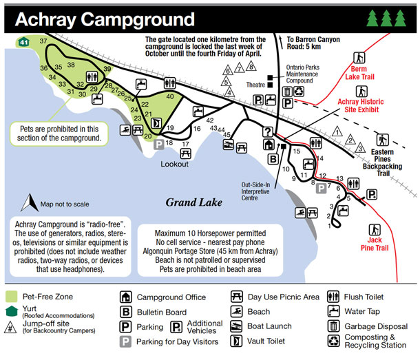Achray Campground Map, Algonquin Park
