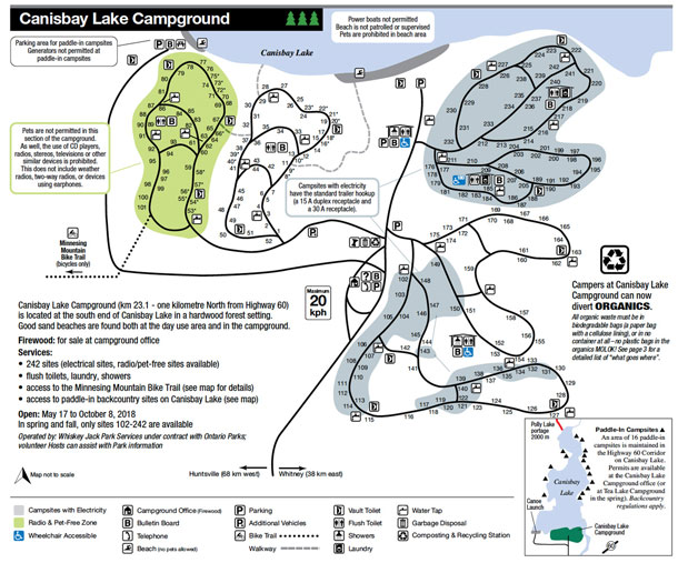 Canisbay Lake Campground Map, Algonquin Park