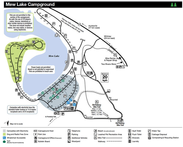 Mew Lake Campground Map, Algonquin Park