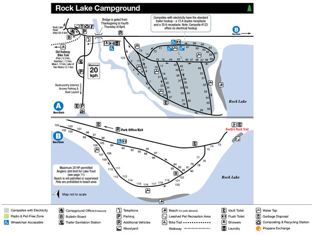 Rock Lake Campground Map, Algonquin Park