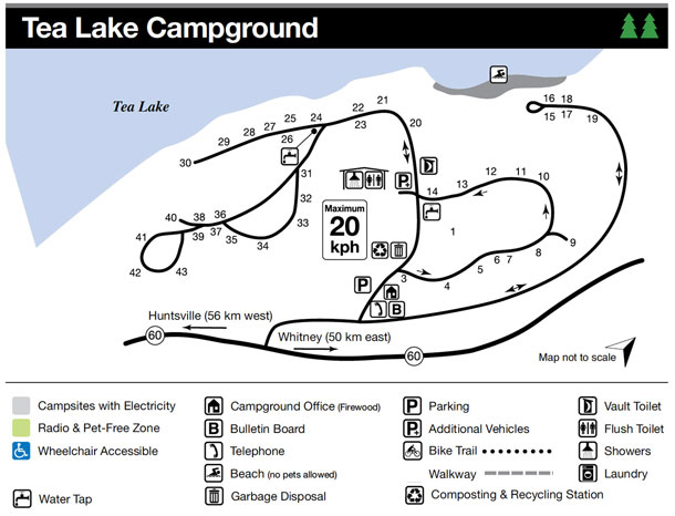 Tea Lake Campground Map, Algonquin Park