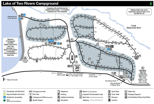 Lake of Two Rivers Campground Map, Algonquin Park