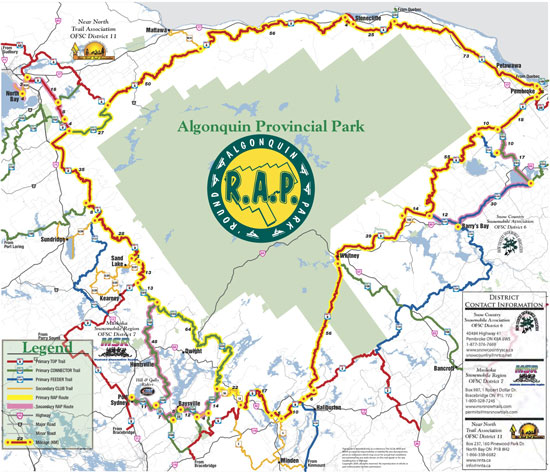 Round Algonquin Park (RAP) Snowmobile Map